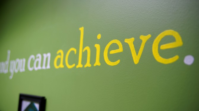 """""""Believe and you can achieve"""" adorns the walls at both Seeds of Literacy locations."""