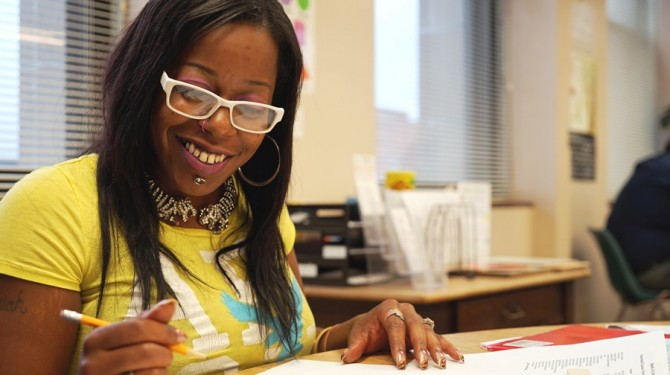 A GED student at Seeds of Literacy's west side location in Cleveland