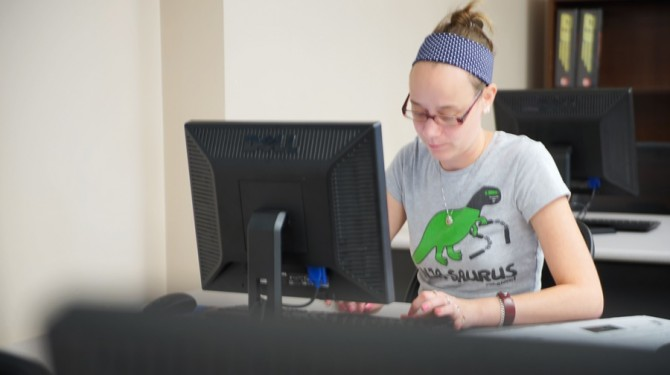 A GED student works on her computer skills
