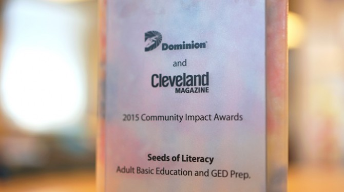 Seeds of Literacy won the 2015 Community Impact Award from Dominion East Ohio
