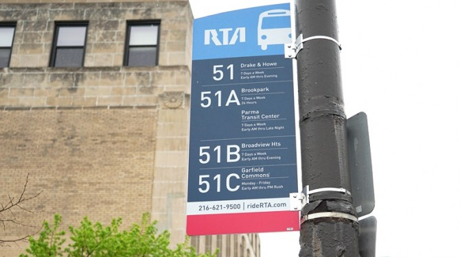 The RTA bus stop outside of Seeds of Literacy's W. 25th location.