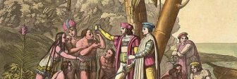 "Christopher Columbus meets indigenous people in the ""New World."""